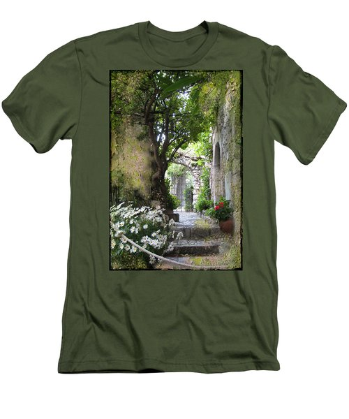 Inviting Courtyard Men's T-Shirt (Slim Fit) by Carla Parris
