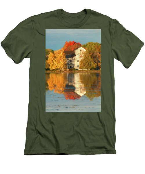 Iola Mill Fall Reflection Men's T-Shirt (Slim Fit) by Trey Foerster