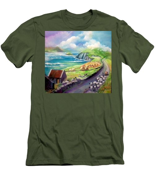 Men's T-Shirt (Slim Fit) featuring the painting Ireland Co Kerry by Paul Weerasekera