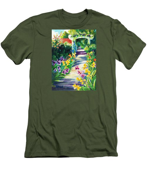 Iris Garden Walkway   Men's T-Shirt (Slim Fit) by Kathy Braud