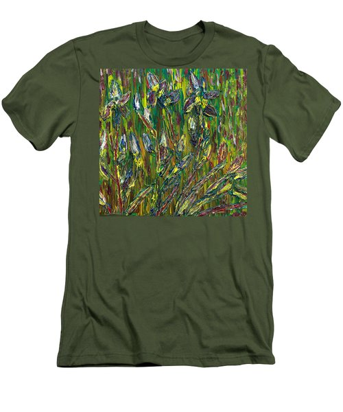Men's T-Shirt (Slim Fit) featuring the painting Irises Dance by Vadim Levin