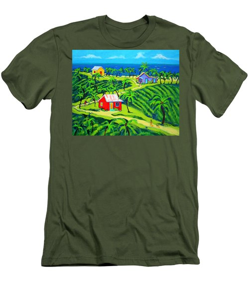 Island Time - Colorful Houses Caribbean Cottages Men's T-Shirt (Slim Fit) by Rebecca Korpita