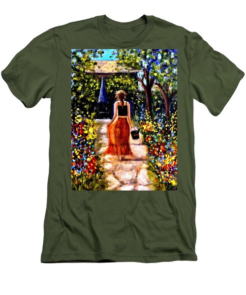 Men's T-Shirt (Slim Fit) featuring the painting It's A Beautiful Day.. by Cristina Mihailescu