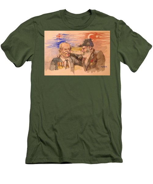 Men's T-Shirt (Slim Fit) featuring the painting Jack Ryan And Hyseyin Kacmaz by Ray Agius