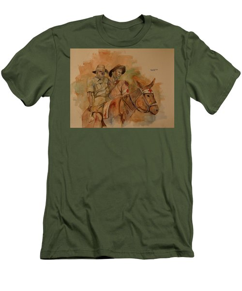 Men's T-Shirt (Slim Fit) featuring the painting Jack Simpson And Duffy by Ray Agius