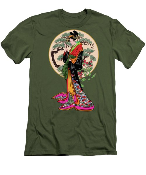Men's T-Shirt (Slim Fit) featuring the digital art Japanese Girl With A Landscape In The Background. by Andrzej Szczerski