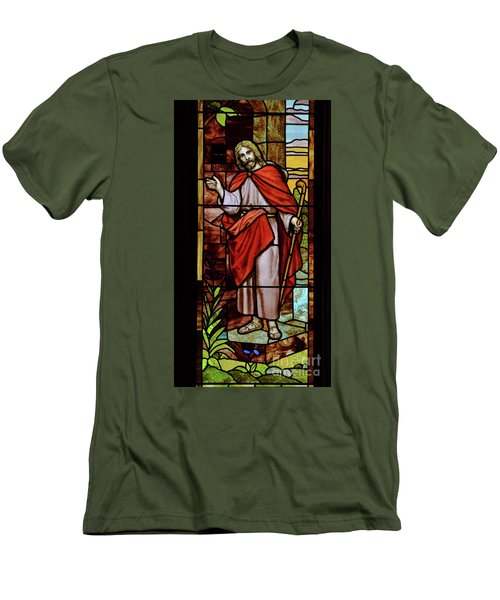 Men's T-Shirt (Slim Fit) featuring the photograph Jesus Knocking by Debby Pueschel