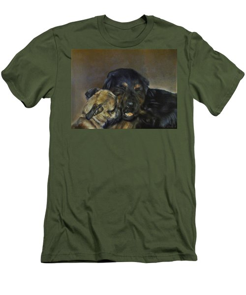 Men's T-Shirt (Slim Fit) featuring the painting Jim And Ozzy by Cherise Foster