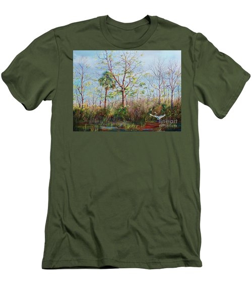 Men's T-Shirt (Slim Fit) featuring the painting Jim Creek Lift Off by AnnaJo Vahle