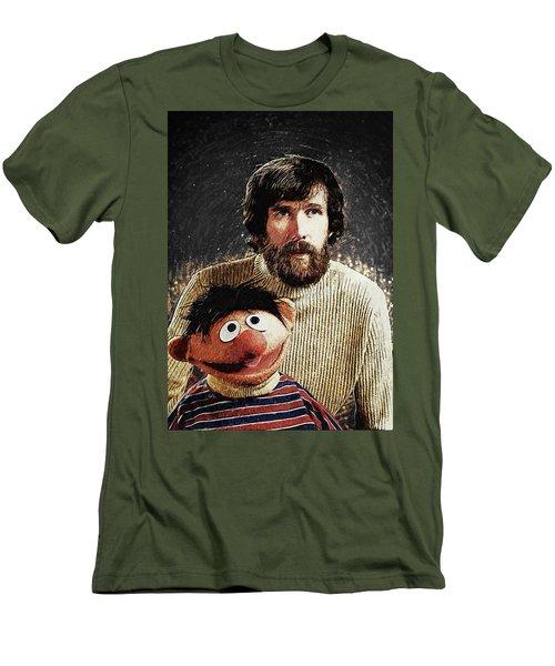 Men's T-Shirt (Slim Fit) featuring the digital art Jim Henson With Ernie by Taylan Apukovska