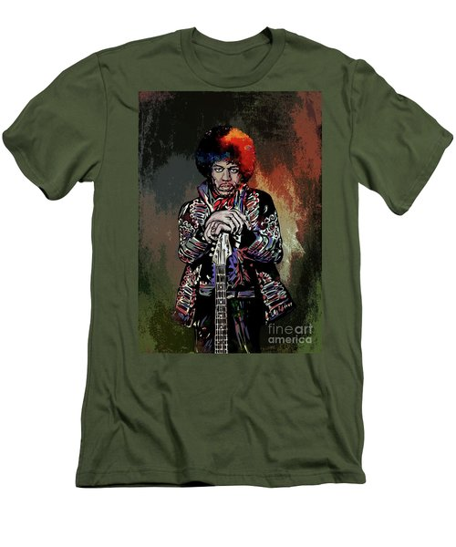 Men's T-Shirt (Slim Fit) featuring the painting Jimi  by Andrzej Szczerski