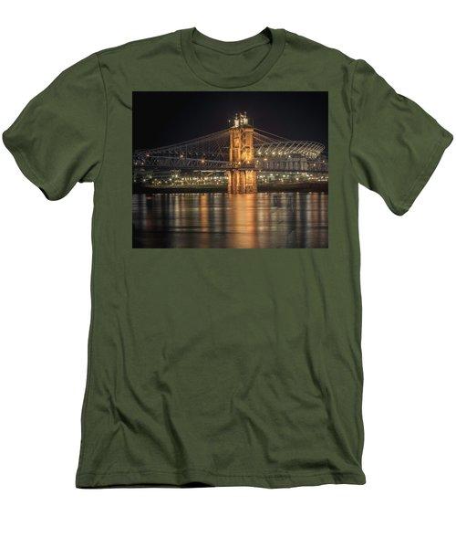 John A. Roebling Suspension Bridge Men's T-Shirt (Slim Fit) by Scott Meyer