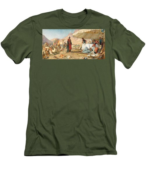 Men's T-Shirt (Slim Fit) featuring the photograph John Frederick Lewis Mount Sinai 1842 by Munir Alawi