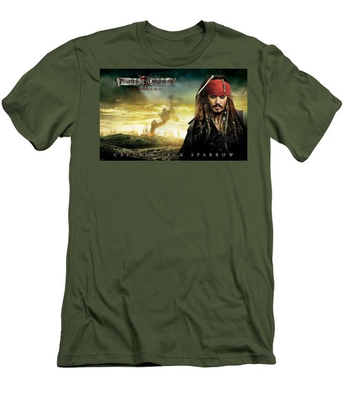 Johnny Depp In Pirates Of The Caribbean 4 Men's T-Shirt (Athletic Fit)