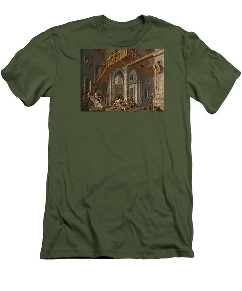 Men's T-Shirt (Slim Fit) featuring the painting Joseph Interprets The Dreams Of The Pharaoh's Servants Whilts In Jail by Alessandro Magnasco