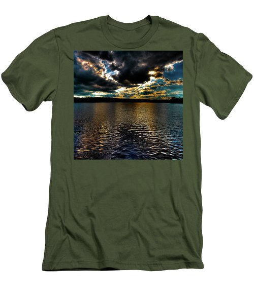 Men's T-Shirt (Slim Fit) featuring the photograph June Sunset On Nicks Lake by David Patterson