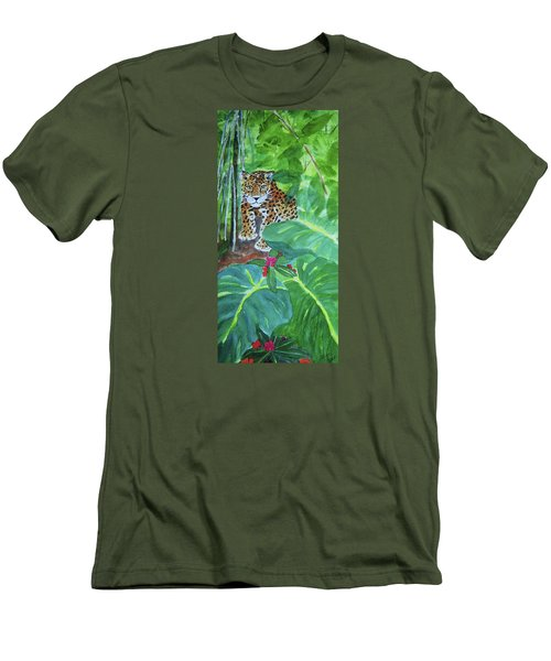 Men's T-Shirt (Slim Fit) featuring the painting Jungle Jaguar by Ellen Levinson