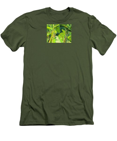 Men's T-Shirt (Slim Fit) featuring the digital art Jungle Path by Jean Pacheco Ravinski