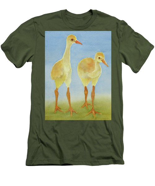 Men's T-Shirt (Slim Fit) featuring the painting Junior Birdmen by Judy Mercer
