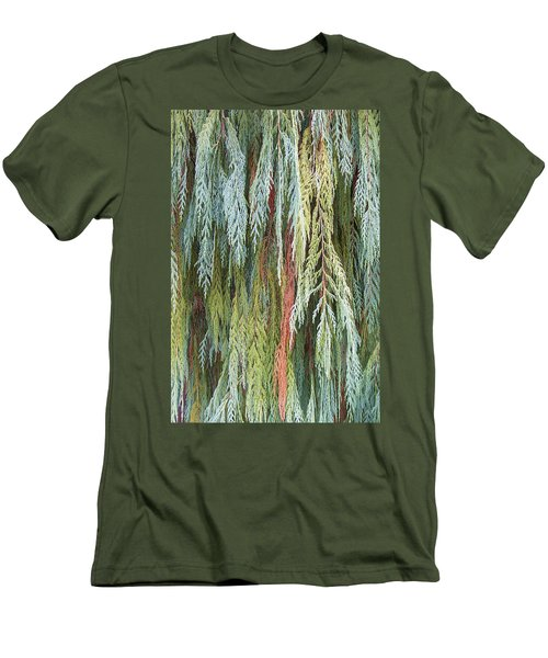 Men's T-Shirt (Slim Fit) featuring the photograph Juniper Leaves - Shades Of Green by Ben and Raisa Gertsberg