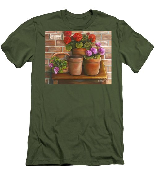 Just Geraniums Men's T-Shirt (Slim Fit) by Marlene Book