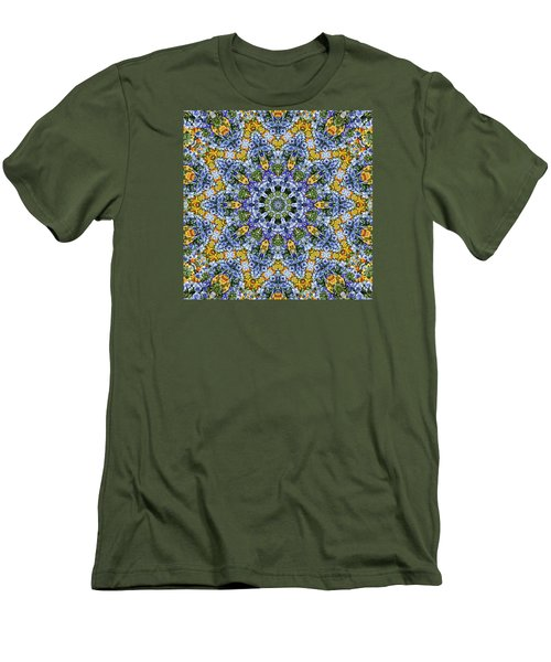 Kaleidoscope - Blue And Yellow Men's T-Shirt (Slim Fit) by Nikolyn McDonald