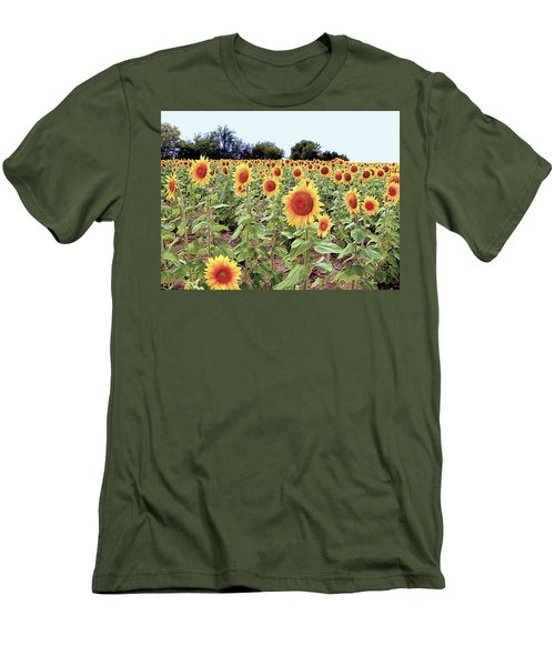 Kansas Sunflower Field Men's T-Shirt (Athletic Fit)
