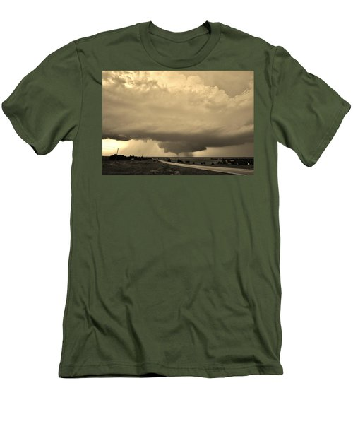 Men's T-Shirt (Athletic Fit) featuring the photograph Kansas Twister - Sepia by Ed Sweeney