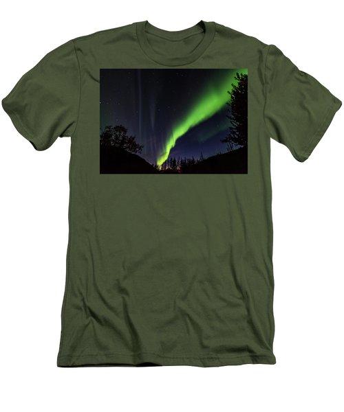 Kantishna Northern Lights In Denali National Park Men's T-Shirt (Slim Fit) by Brenda Jacobs
