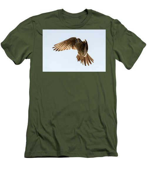 Men's T-Shirt (Slim Fit) featuring the photograph Kestrel Hover by Mike Dawson