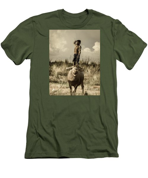 Men's T-Shirt (Slim Fit) featuring the photograph Kid And Cow by Arik S Mintorogo