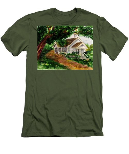 Men's T-Shirt (Slim Fit) featuring the painting Kihei Chapel by Eric Samuelson