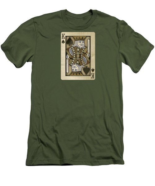 King Of Spades In Wood Men's T-Shirt (Slim Fit) by YoPedro