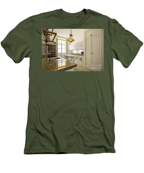 Men's T-Shirt (Athletic Fit) featuring the photograph Kitchen Apartment In The Heart Of Cadiz by Pablo Avanzini