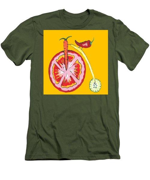Kitchen Vegetable Art Men's T-Shirt (Slim Fit) by Kathleen Sartoris
