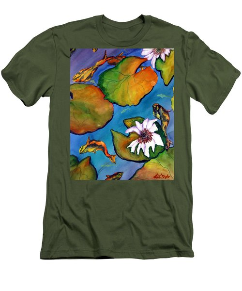 Men's T-Shirt (Slim Fit) featuring the painting Koi Pond II Sold by Lil Taylor