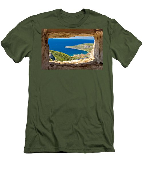 Komiza Bay Aerial View Through Stone Window Men's T-Shirt (Athletic Fit)