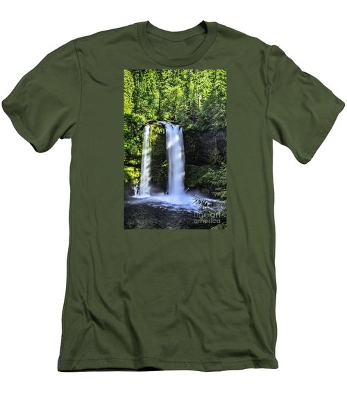 Koosa Falls,oregon Men's T-Shirt (Slim Fit) by Nancy Marie Ricketts