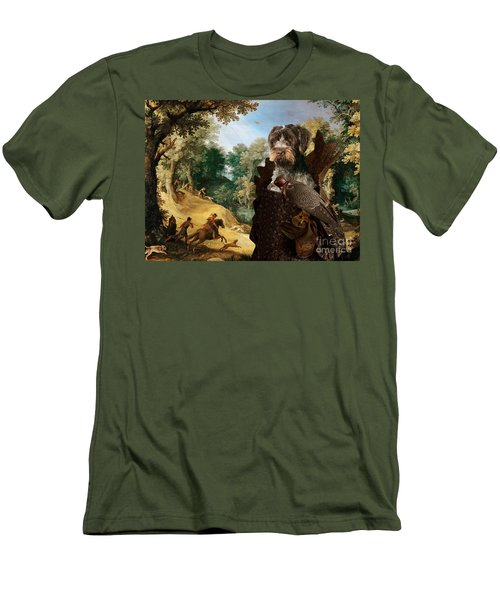 Korthals Pointing Griffon Art Canvas Print - The Hunters And Lady Falconer Men's T-Shirt (Athletic Fit)