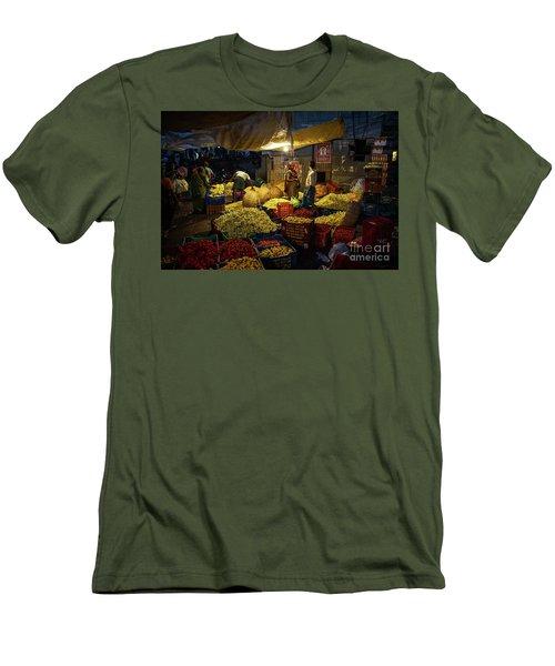 Men's T-Shirt (Slim Fit) featuring the photograph Koyambedu Chennai Flower Market Predawn by Mike Reid