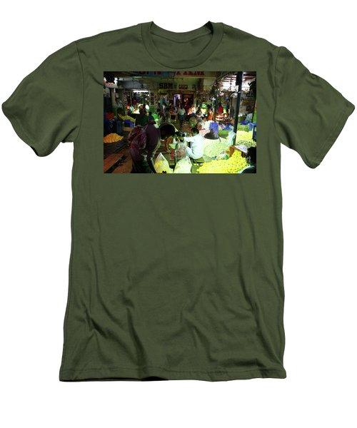 Men's T-Shirt (Slim Fit) featuring the photograph Koyambedu Flower Market Stalls by Mike Reid