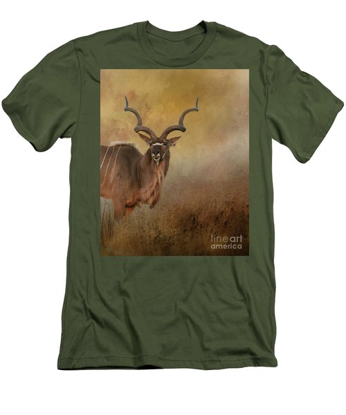 Kudu On Alert Men's T-Shirt (Slim Fit) by Myrna Bradshaw