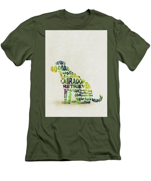 Men's T-Shirt (Athletic Fit) featuring the painting Labrador Retriever Watercolor Painting / Typographic Art by Ayse and Deniz