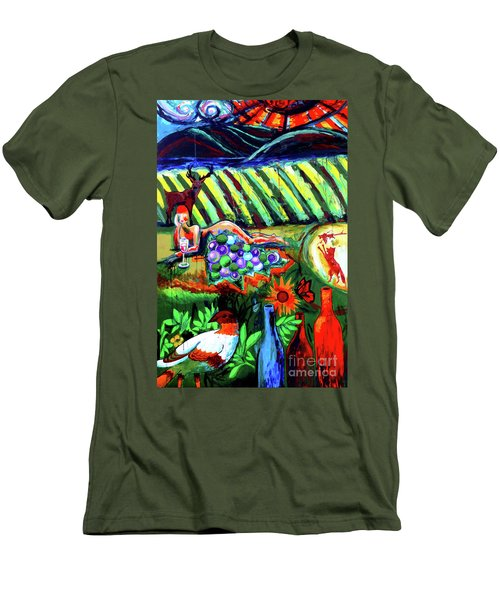 Men's T-Shirt (Slim Fit) featuring the painting Lady And The Grapes by Genevieve Esson