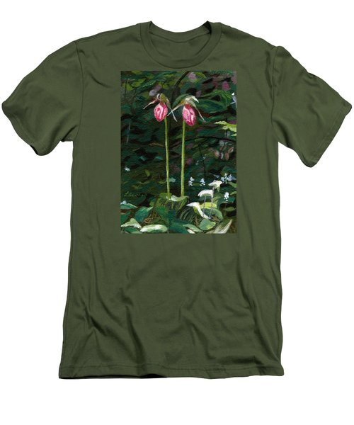 Men's T-Shirt (Slim Fit) featuring the painting Lady Slipper by Lynne Reichhart