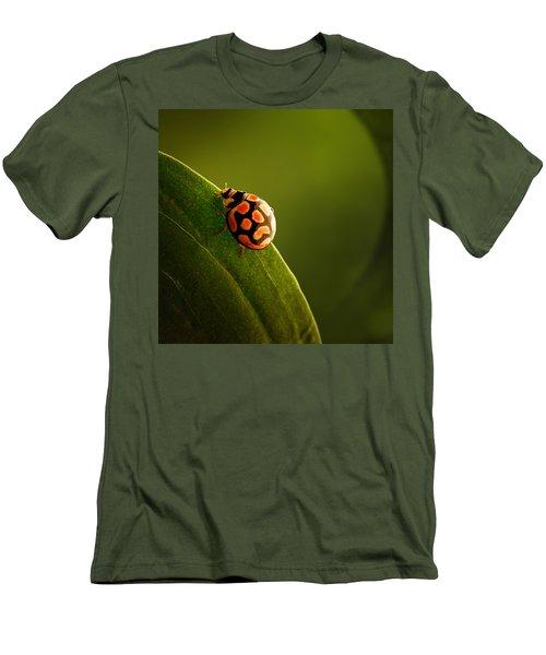 Ladybug  On Green Leaf Men's T-Shirt (Athletic Fit)