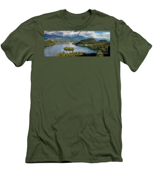 Men's T-Shirt (Slim Fit) featuring the photograph Lake Bled Pano by Brian Jannsen