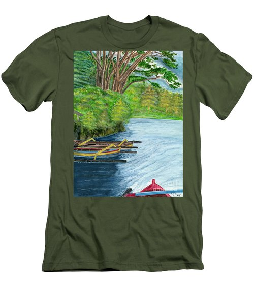 Men's T-Shirt (Slim Fit) featuring the painting Lake Bratan Boats Bali Indonesia by Melly Terpening