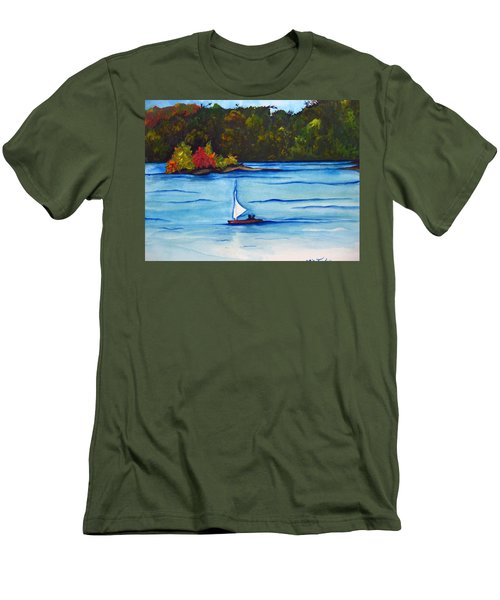 Men's T-Shirt (Slim Fit) featuring the painting Lake Glenville  Sold by Lil Taylor