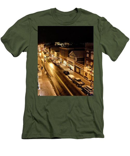 Men's T-Shirt (Slim Fit) featuring the photograph Lake Placid New York - Main Street by Brendan Reals